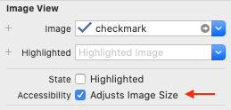 "Screenshot of the ""Adjusts Image Size"" checkbox in .xib file Inspector panel."